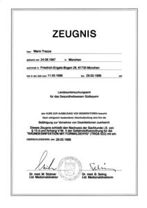 Desinfektor - Zeugnis für Mario Trazza